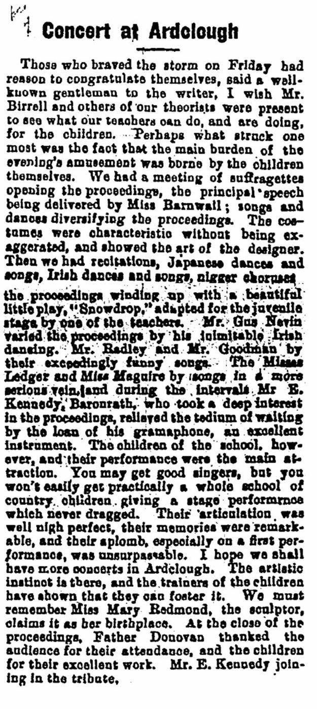 1914 ardclough school concert Feb 18